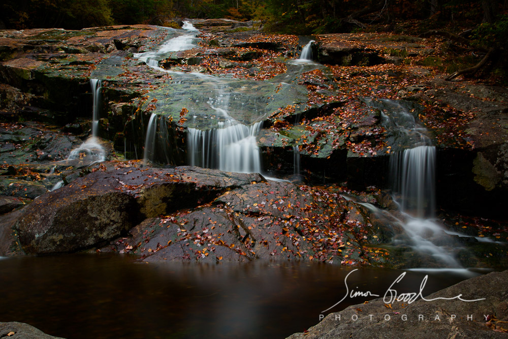 Autumn Waterfall Leaves Long Exposure Simon Goodacre Photography White Mountains New Hampshire Cascade Rocks Stream Franconia Notch State Park Big Stopper LEE Filters New England