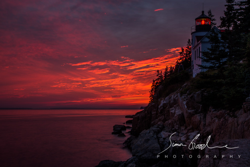 Bass Harbor Head Light Maine Lighthouse Sunset Acadia Rocks Seascape Simon Goodacre Photography Night Sky Red Dark Sea Beach National Park