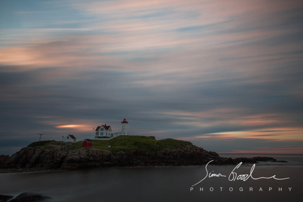 Nubble Light, Cape Neddick, Clouds, ME, Maine, Ogunquit, Sunrise, Rocks, Big Stopper, LEE Filters, ND Filter, Neutral Density, Lighthouse, Lighthouses, Sea, Ocean, Night, Simon Goodacre, Photography, New England, Long Exposure, Water, Light,