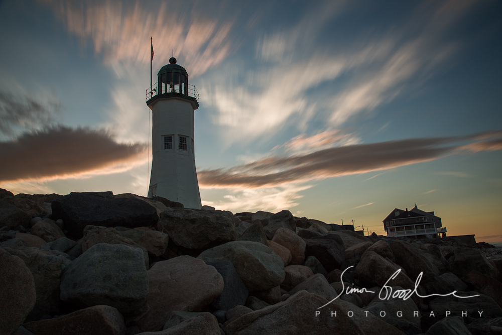 Old Scituate Light, Clouds, MA, Massachusetts, Scituate, Sunset, Rocks, Big Stopper, LEE Filters, ND Filter, Neutral Density, Lighthouse, Lighthouses, Sea, Ocean, Night, Simon Goodacre, Photography, New England, Long Exposure, Water, Light,