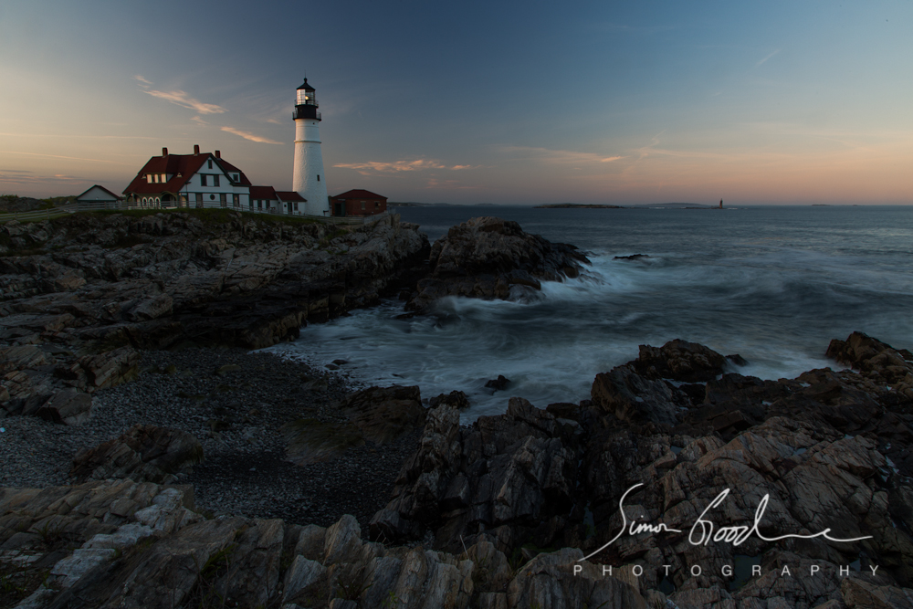 Portland Head Light, Clouds, ME, Maine, Portland, Sunrise, Rocks, Big Stopper, LEE Filters, ND Filter, Neutral Density, Lighthouse, Lighthouses, Sea, Ocean, Night, Simon Goodacre, Photography, New England, Long Exposure, Water, Light, Cape Elizabeth